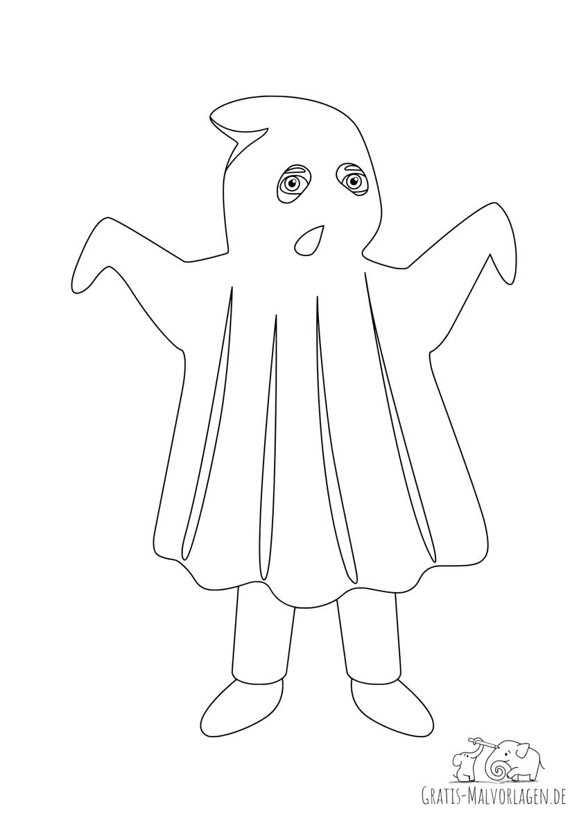 Ausmalbild Geisterkostüm