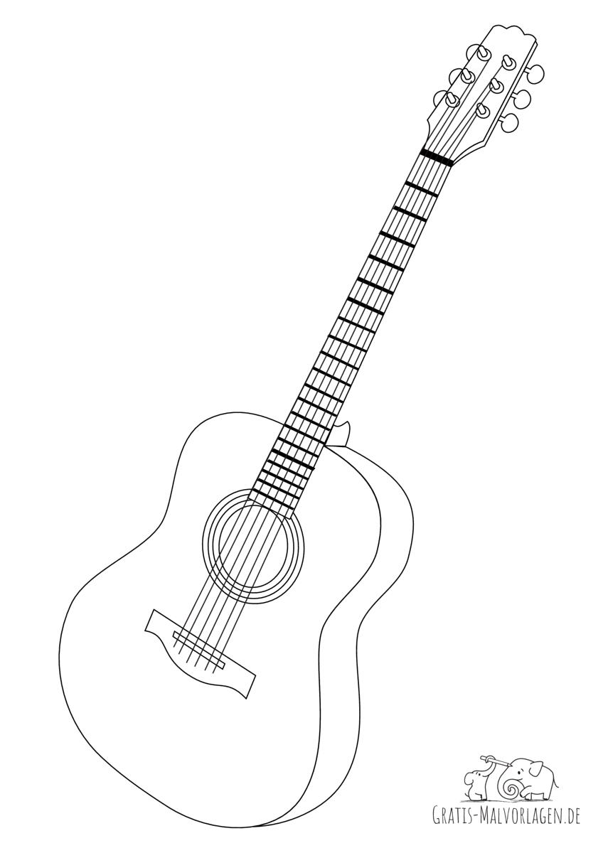 Ausmalbild Gitarre