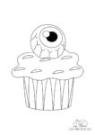Ausmalbild Halloween Muffin mit einem Auge