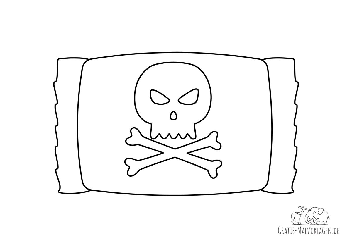 Ausmalbild Halloween Totenkopf-Bonbon
