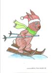 Ausmalbild Hase fährt Ski - Mia 8 Jahre
