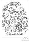 Ausmalbild Hase mit Sack voll Geschenken sitzt unter dem Weihnachtsbaum