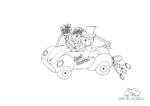 Ausmalbild Hochzeitsauto Cabrio mit Braut und Bräutigam