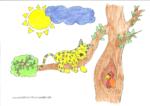 Ausmalbild Jaguar auf Baum - Elia 6 Jahre