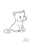 Ausmalbild Katze mit Anime Augen