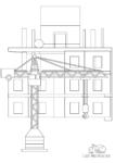 Ausmalbild Kran auf Baustelle vor einem Haus