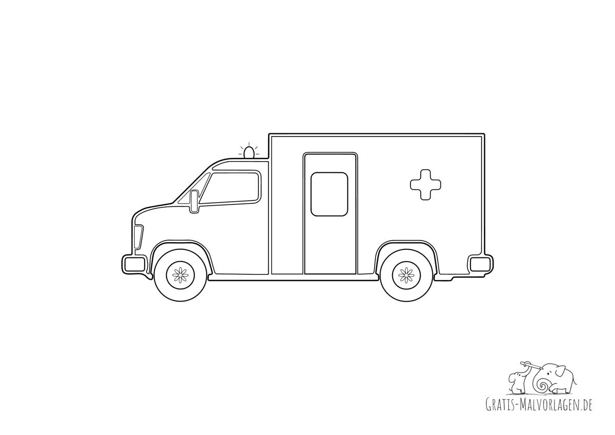 Ausmalbild Krankenwagen mit Blaulicht