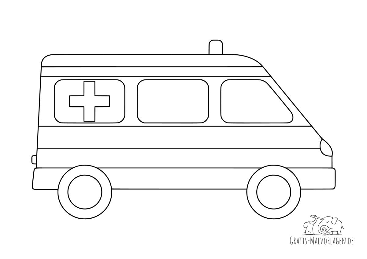Ausmalbild Krankenwagen mit Streifen