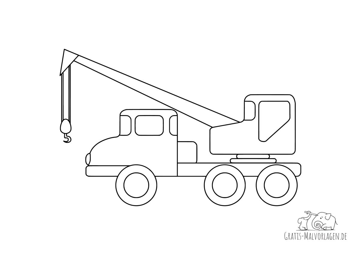 Ausmalbild Kranlastwagen