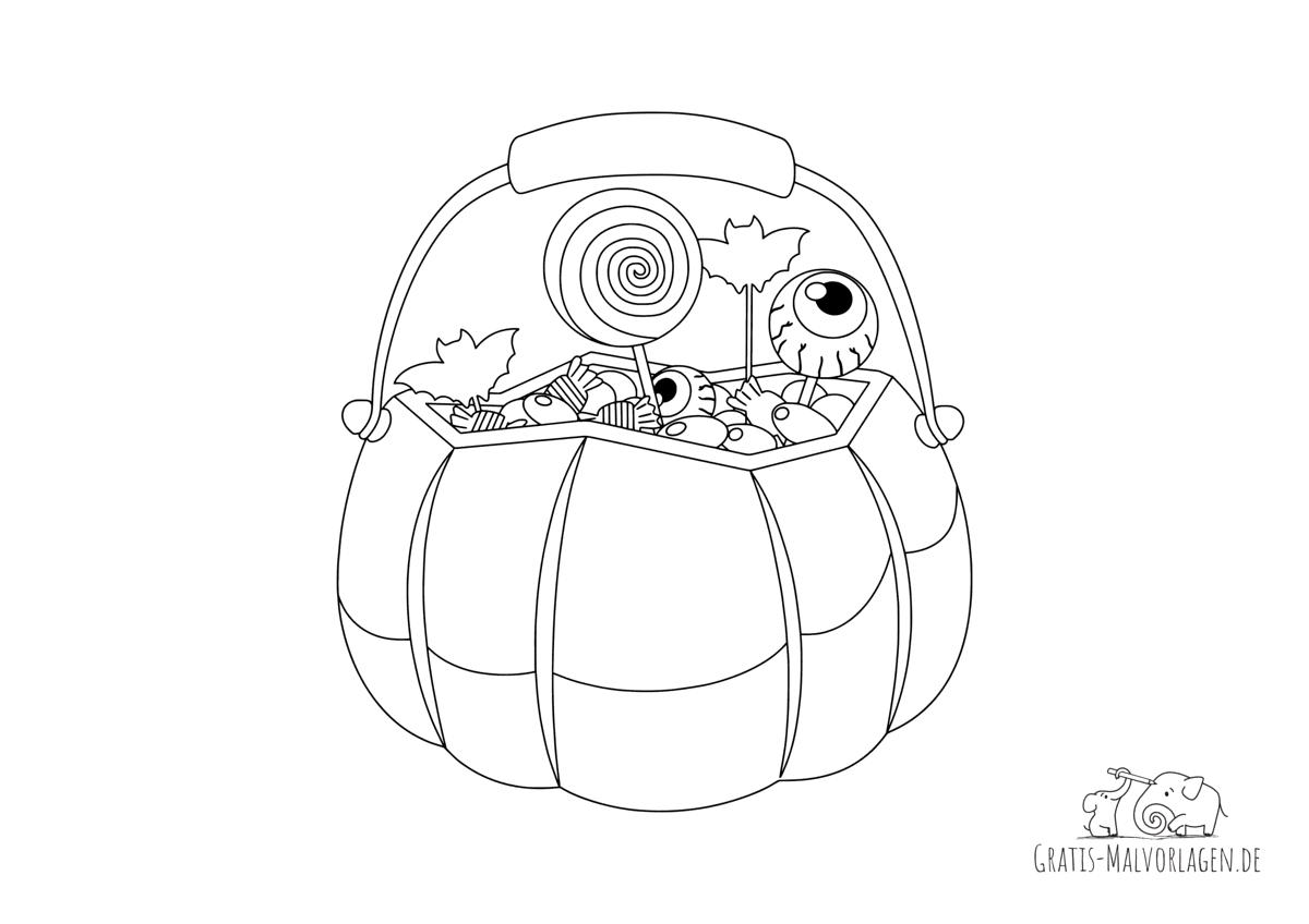 Ausmalbild Kürbiskorb mit Süßigkeiten