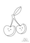 Ausmalbild Lächelnde Kirschen