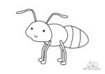Ausmalbild Lächelnde kleine Ameise