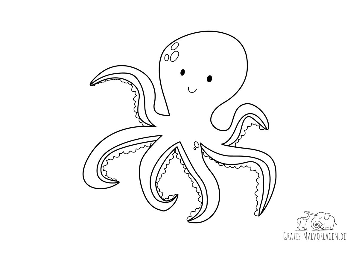 Ausmalbild Lächelnder Oktopus
