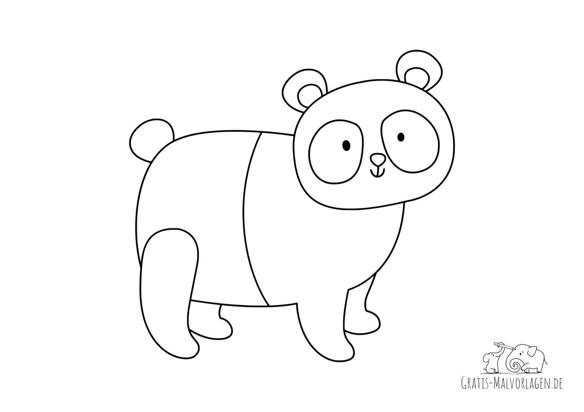 Ausmalbild Lächelnder Panda