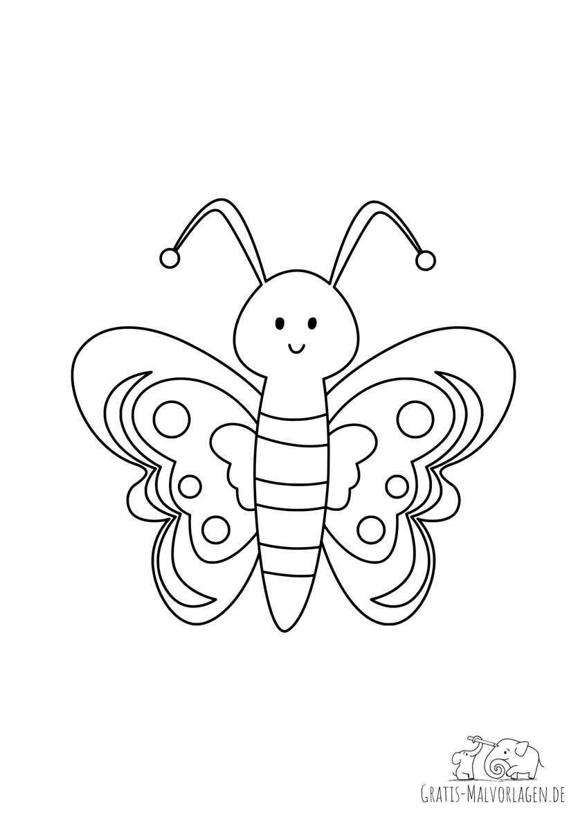 Ausmalbild Lächelnder Schmetterling mit schönen Mustern