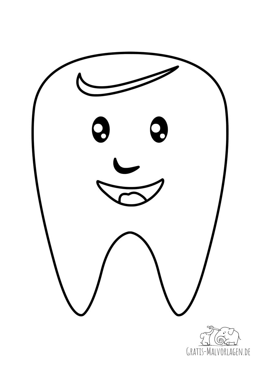 Ausmalbild Lächelnder Zahn