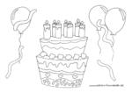 Ausmalbild Leckere Geburtstagstorte mit Luftballons
