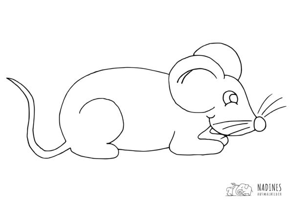 liegende Maus - Nadines Ausmalbilder