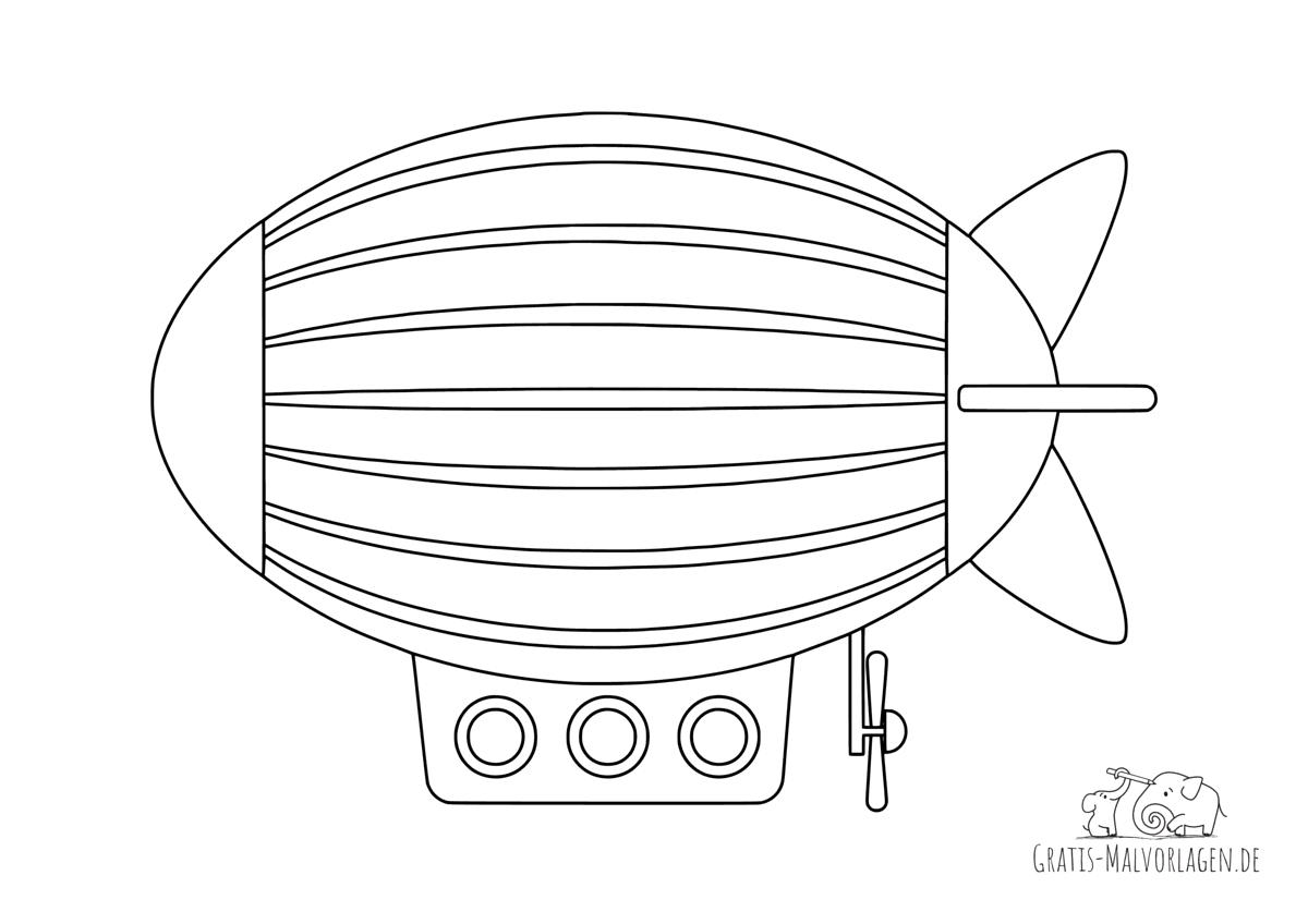 Ausmalbild Luftschiff
