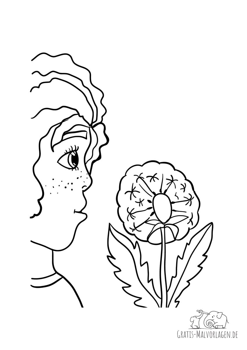 Ausmalbild Mädchen mit Pusteblume - Gratis Malvorlagen