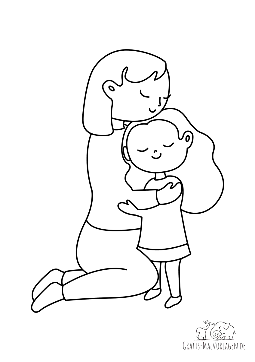 Ausmalbild Mutter und Tochter
