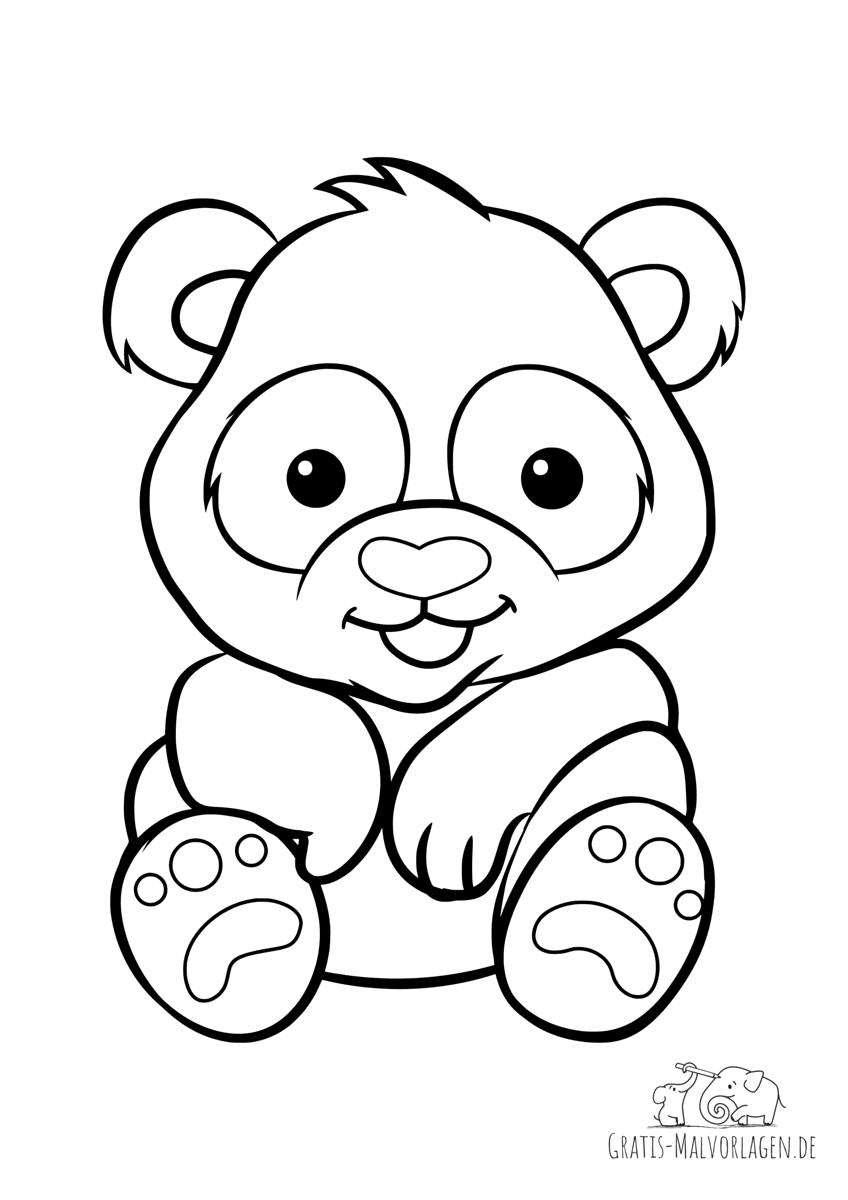 Ausmalbild Panda mit Herznase - Gratis Malvorlagen