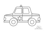 Ausmalbild Polizeiauto mit Stern