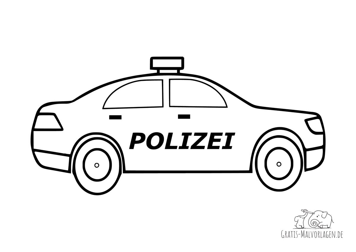 Ausmalbild Polizeiauto - Gratis Malvorlagen