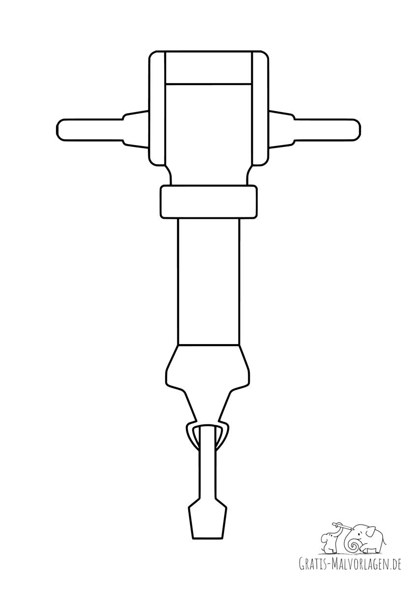 Ausmalbild Presslufthammer