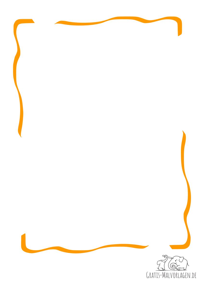 Ausmalbild Rahmen Bänder orange