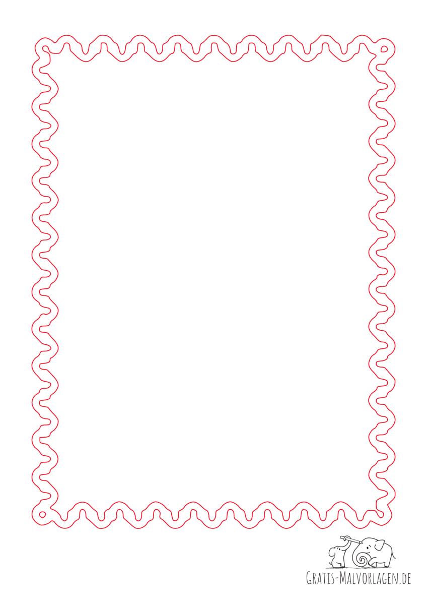 Ausmalbild Rahmen Schlangenlinien rot