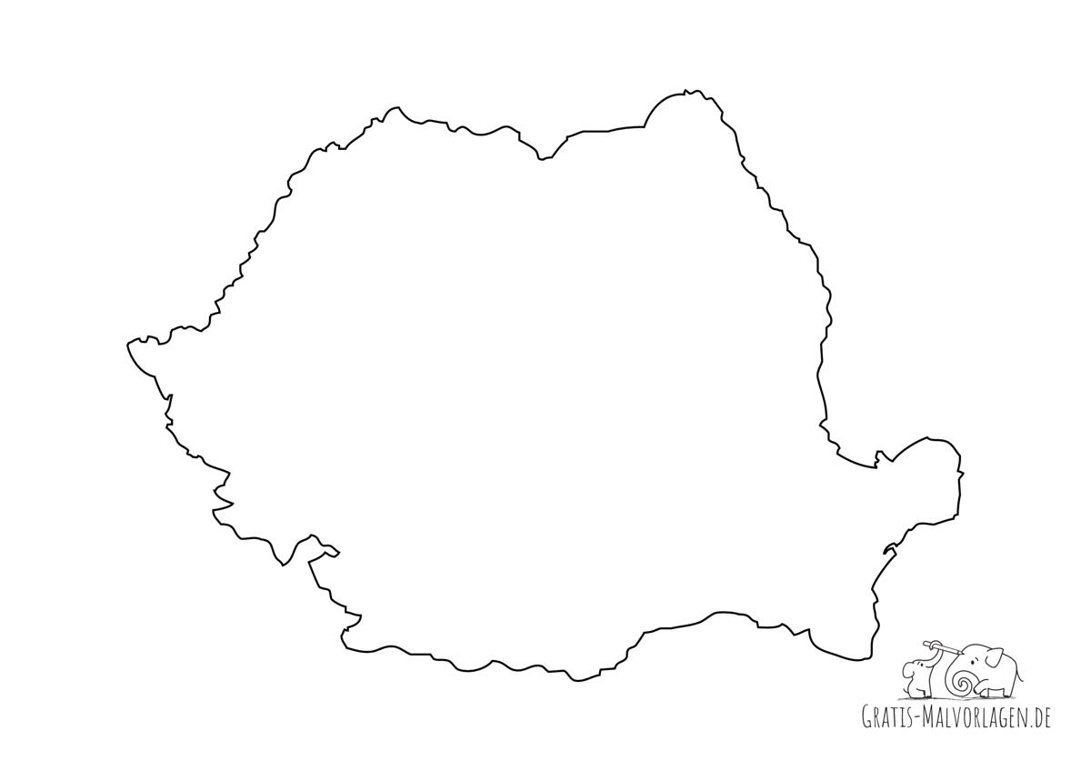 Ausmalbild Rumänien Umriss Ländergrenze