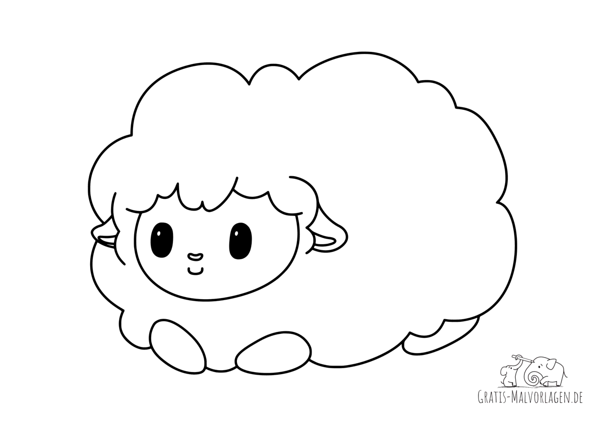 Ausmalbild Schaf mit viel Wolle