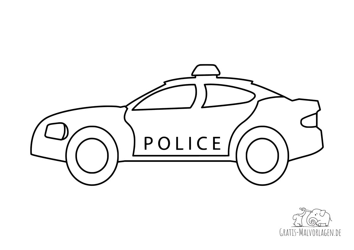 Ausmalbild Schickes Polizeiauto