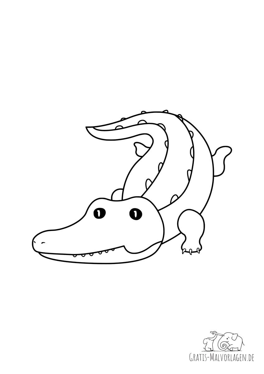 Ausmalbild Schleichendes Krokodil