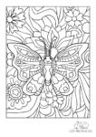 Ausmalbild Schmetterling mit Augen und Fühlern und kleinen Blumen