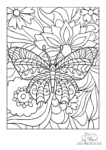 Ausmalbild Schmetterling mit Blumen und Blättern