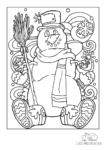 Ausmalbild Schneemann mit Winterstiefeln im Schneegestöber