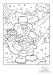 Ausmalbild Schneemann wandert mit Geschenken durch den Schnee