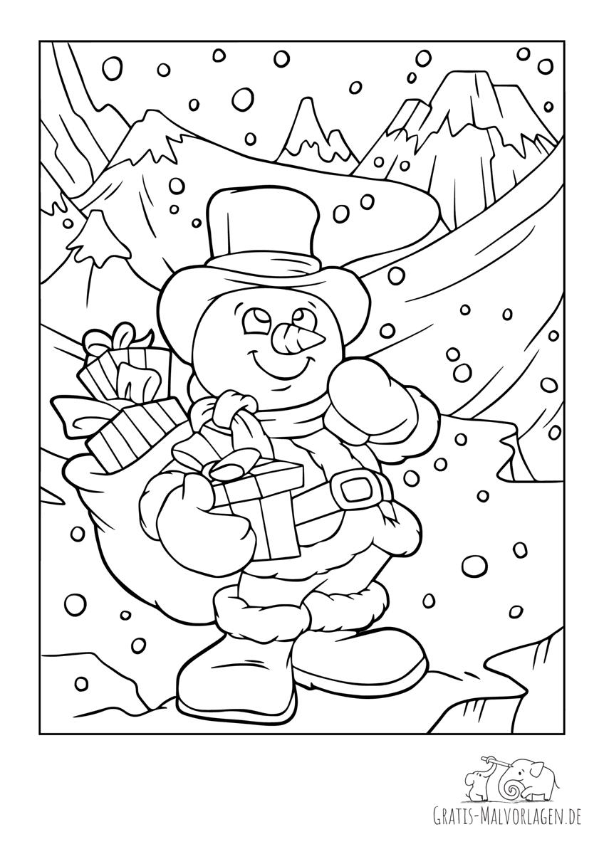 Schneemann wandert mit Geschenken durch den Schnee