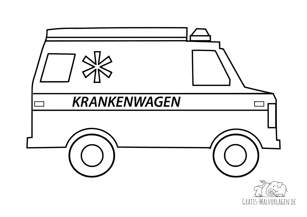 Ausmalbild Schneller Krankenwagen