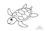 Ausmalbild Schwimmende Schildkröte