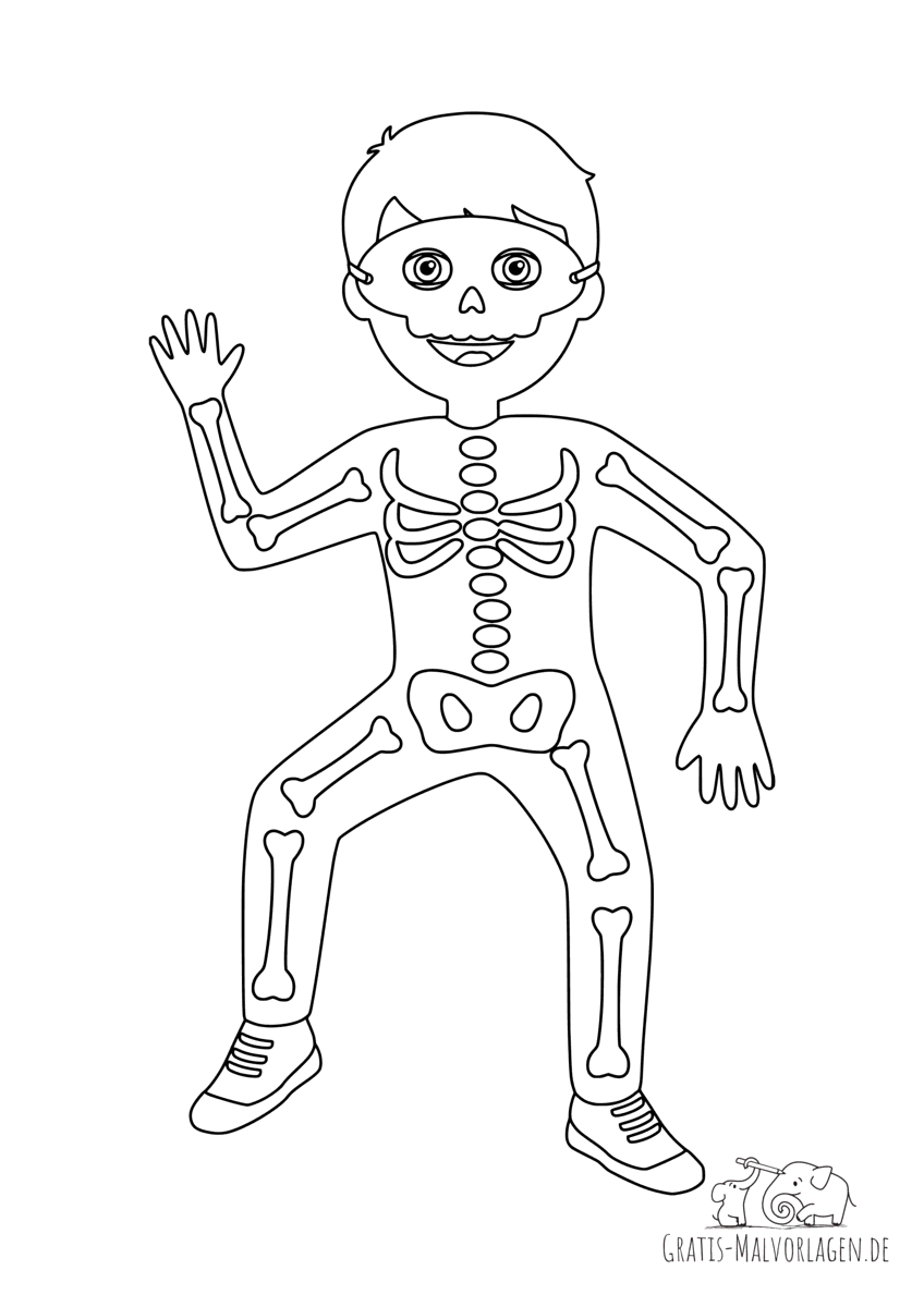 Ausmalbild Skelettkostüm
