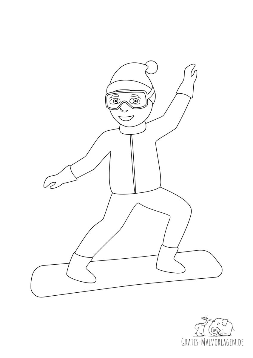 Ausmalbild Snowboarder