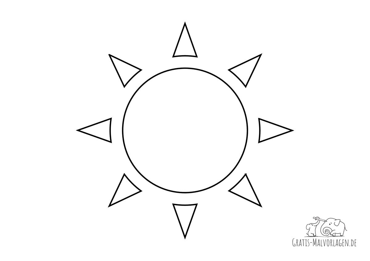 Ausmalbild Sonne mit zackigen Strahlen