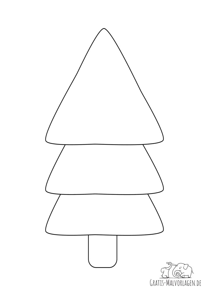 Ausmalbild Tannenbaum einfach gezeichnet