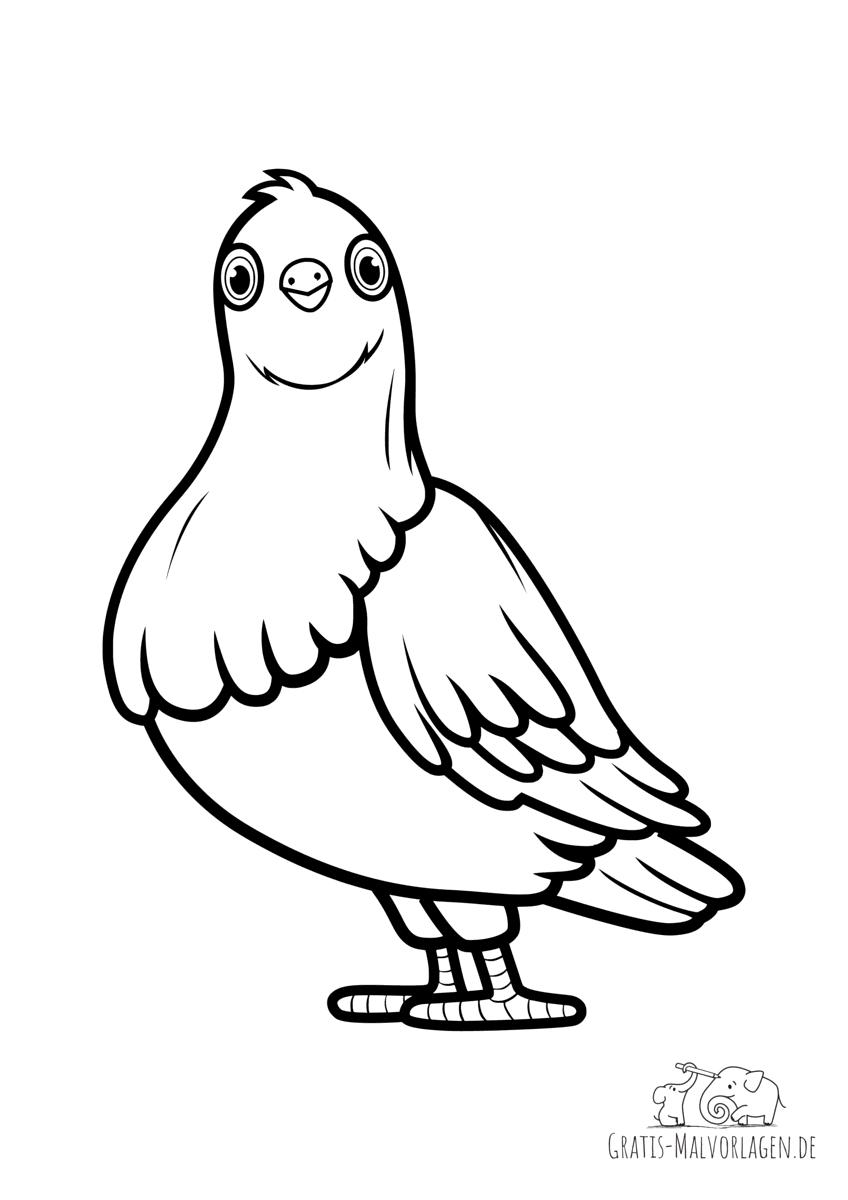 Ausmalbild Taube schaut dir in die Augen