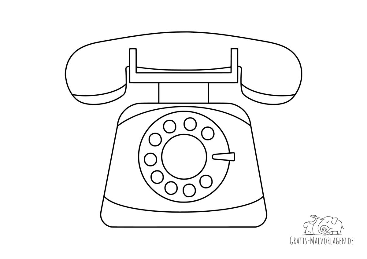 Ausmalbild Telefon mit Wählscheibe