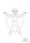 Ausmalbild Vampir mit Umhang