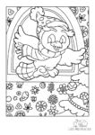 Ausmalbild Vogel mit Mütze und Schaal flattert ins weihnachtliche Zimmer